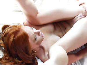 Redhead And Her Friend Double Team His Dick