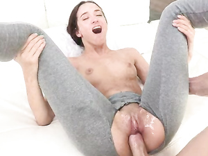 Yoga Pants Torn Open To Free Her Cunt For Fucking