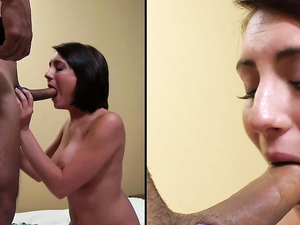 Big Cumshots Across Her Face After Hot Sex