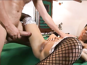 Fucking The French Maid And Cumming On Her Cunt