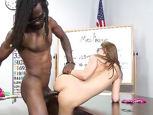 Sexy Student Takes Ten Inches Of Black Cock