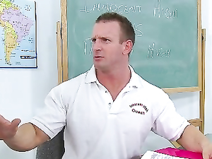 Cheerleader Cindy Starfall Fucks The Gym Teacher