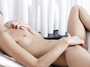 Small Tits And Hard Nipples Teen Masturbates Solo