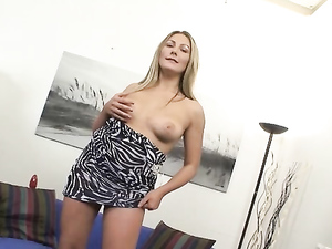 Hot Ass Girl In A Hooker Dress Rubs Her Tasty Pussy