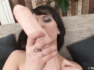 Solo Girl Fucks Her Tight Lubed Cunt With A Big Dildo