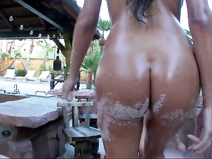 Slippery Foursome Fuck Scene Poolside With Horny Sluts