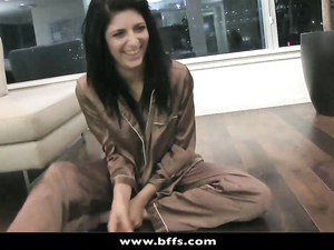 Lesbian Pajama Party Becomes A Hot Orgy