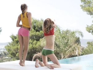Sexy Teens Rub Baby Oil All Over Each Other Poolside