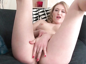 Hot Blonde Riding Toy With Her Teenage Pussy