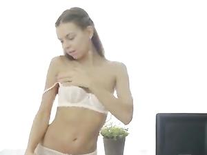 Teenage Tease In Lace Panties Plays Solo