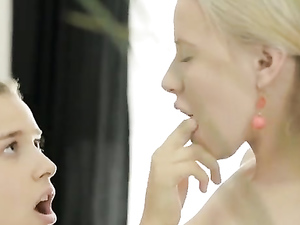 Pigtailed Teen Girlfriends Share A Lollipop And Finger Pussy