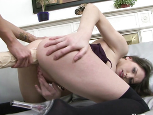 Teenage Asshole Worked Over By A Huge Strapon