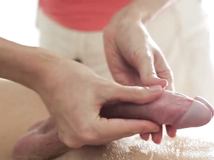 Slow Handjob Tease From His Horny Masseuse